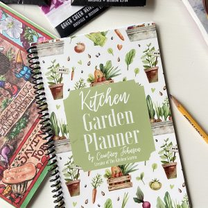 kitchen garden planner on a white table