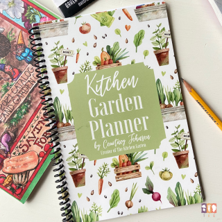 print kitchen garden planner on white table